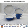Two tones white-blue Dinnerware Round 16PCS Dinner Set in Stock