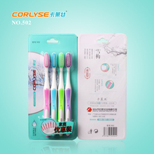 Adult toothbrush family pack 4pcs/pack,tapered filaments,PP+soft rubber transparent wholesale toothbrush