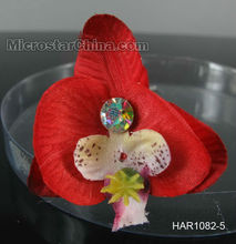 High Quality Cherry Red Flower Shape Bride Hair Pins Accessory