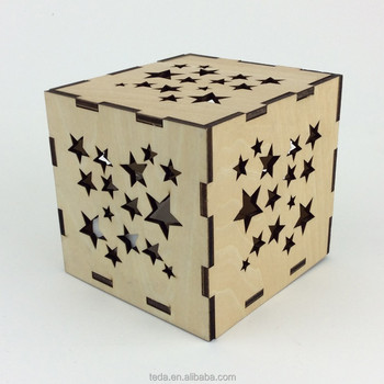 Laser cut wood puzzle candle holder star shape