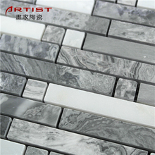 Strip grey and white marble decorative home floor mosaic kit