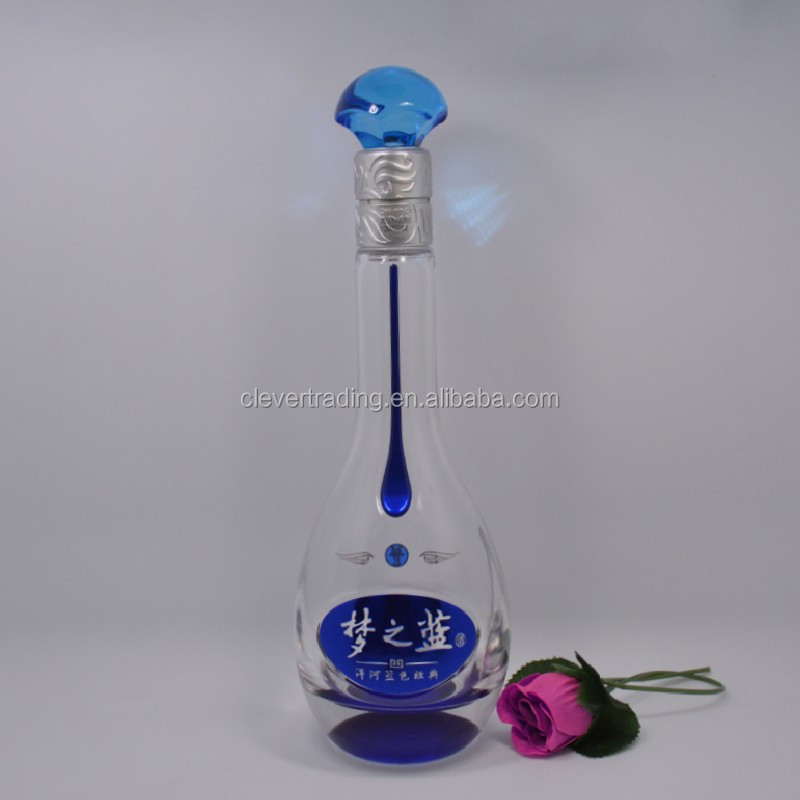 500ml chinese wine glass bottle glass wine bottle supplier for Red glass wine bottles suppliers