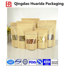 Stand-up Pouch Kraft Paper Bag with Ziplock Window for Snack