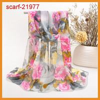 fashion newest personalized silk floral printing scarf