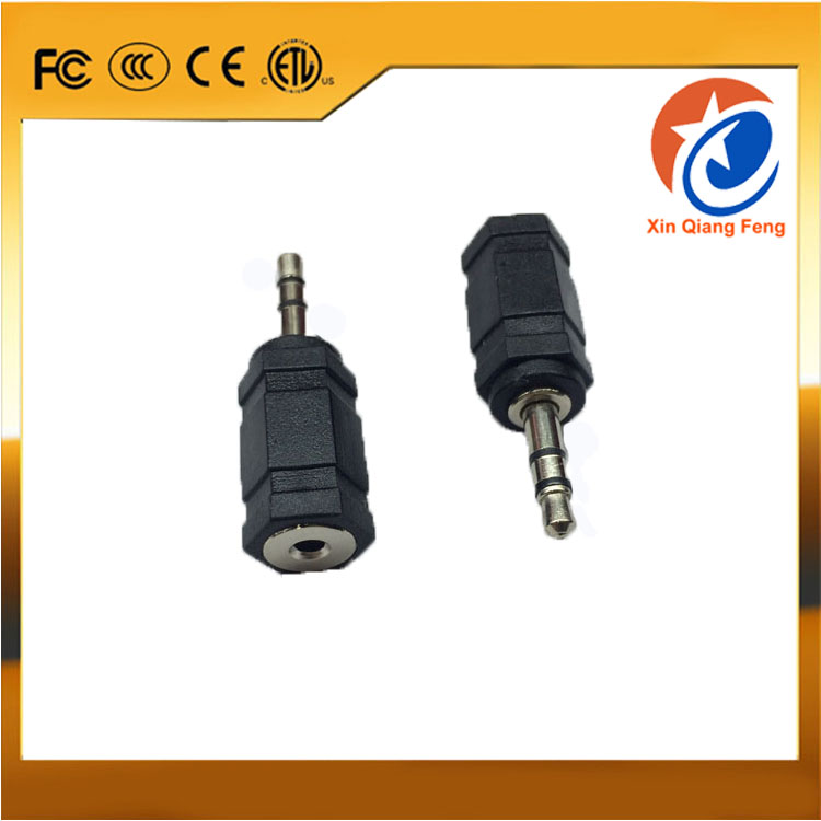 High quality black PVC 3.5 mm male to 2.5 mm female plug headphones stereo audio connector adapter