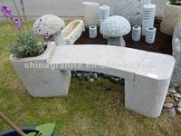 L180cm garden decorative stone bench with flower pot