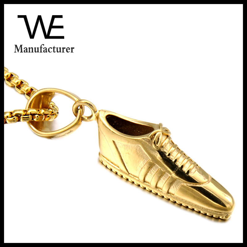 Fashion Men Casual Shoes Charm Necklace 316L Stainless Steel Jewelry 18K Gold Plating
