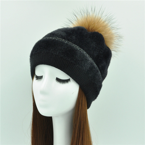 Wholesale Winter Beanie Hats Unisex Knitted Imitate Mink Fur Hat Fashion Women's Hat with Pompom