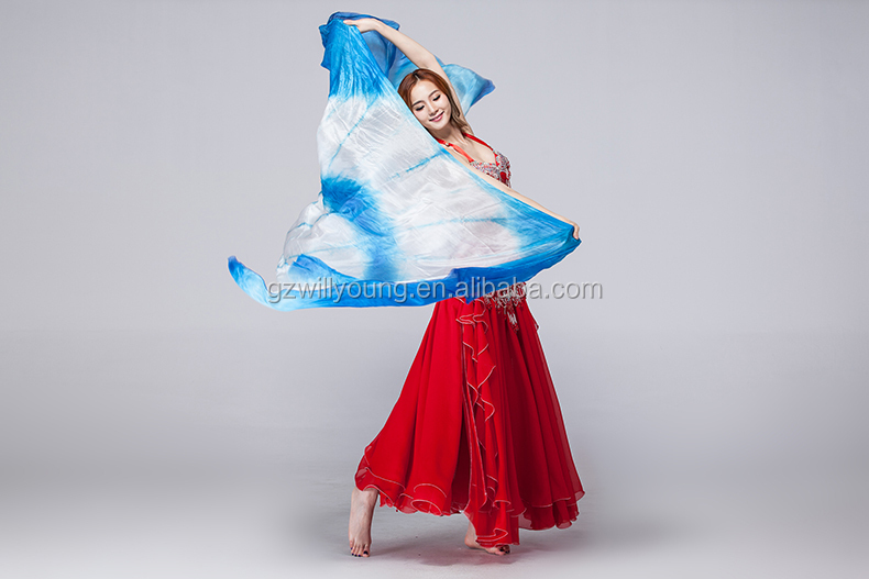 2015 Newest Tie-dyed Fan Designs Belly Dance Silk Veils, Real Silk Veils, Tie-dyed Silk Fan Veils, Different Sizes Available