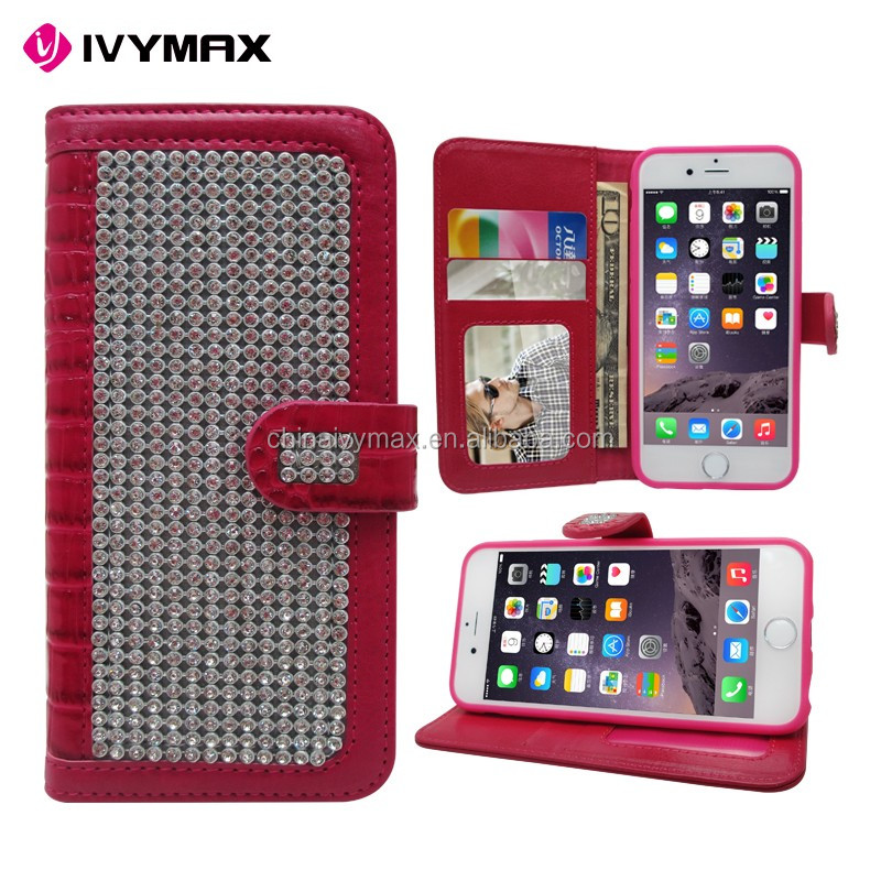 China supplier accessories diamond mobile phone case for iphone 6 4.7 bling wallet covers