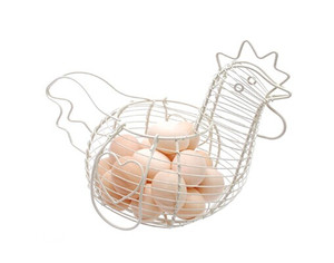Wholesale chicken shaped white color home decorative wire egg basket