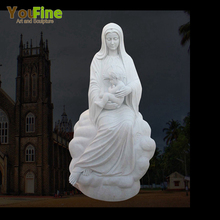 Church Virgin Mary and Jesus Statue in Marble