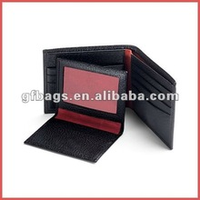 Black Calf And Red Suede Large ID Wallet