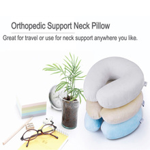 Compressible Wholesale Personalized Head Neck Chin Supporting Pillow Custom Memory Foam Travel Pillow for Car Airplane