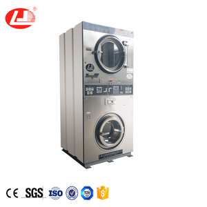 Commercial automatic coin operated double stack washer dryer