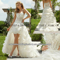 2013 sweetheart beaded ruched appliqued lace high low hem front short long back bridal wedding dress CWFaw5065