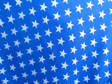 Poly Cotton Print White Stars on Blue Background Fabric