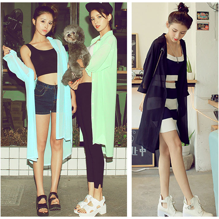 Korean Fashion Women Turn-down Collar Solid Loose 3/4 Sleeve Chiffon Thin Long women spring coat SV019752