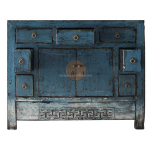 Blue lacquered Living Room Side Cabinet Chinese Painted Corner Cabinets 16050707