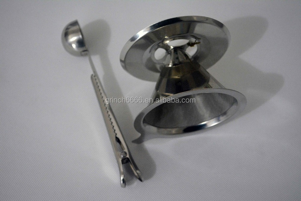Stainless Steel Pour Over Coffee Dripper, Reusable Double Layer Mesh Filter and Coffee Scoop with Bag Clip