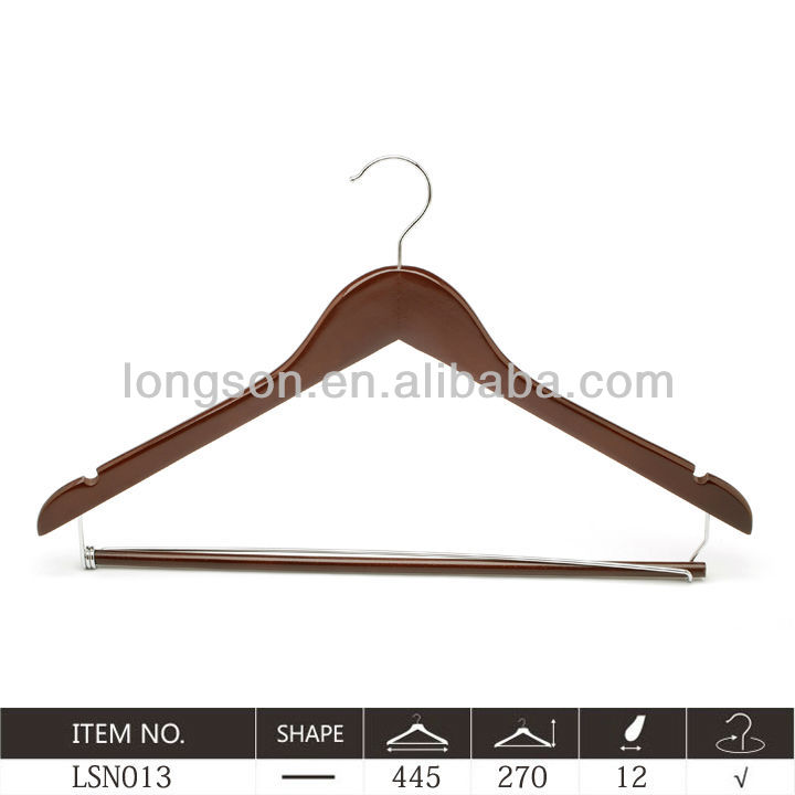 Mahogany Wooden Suit/Shirt Hangers with locking bar and notches in brown colorLSN013