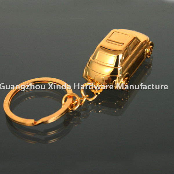 Golden Advertisement Mini Metal Car key chain key ring ,Car shaped Promotion keyring key holder