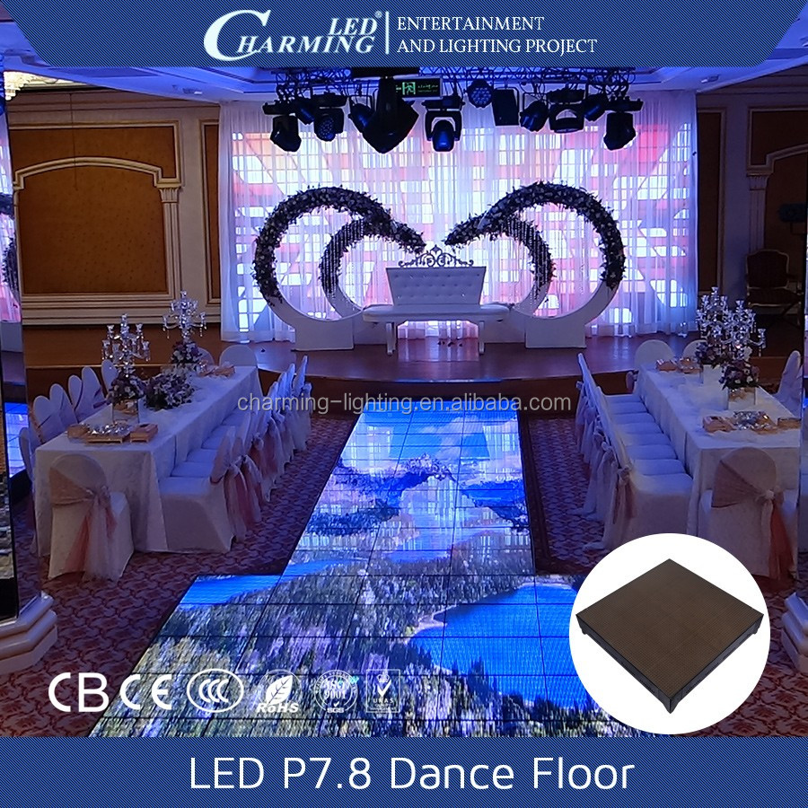 P7.8 Full color led video dance floor portable illuminated led dance floor for sale