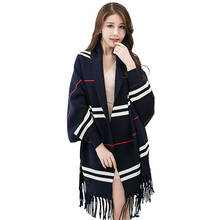 2017 Winter solid color striped turkish pashmina shawl indian fake cashmere tassel shawls ponchos for women with cuff