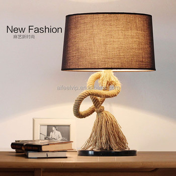 Retro home decorative antique fabric lampshade vintage table lamp for hotel bedside