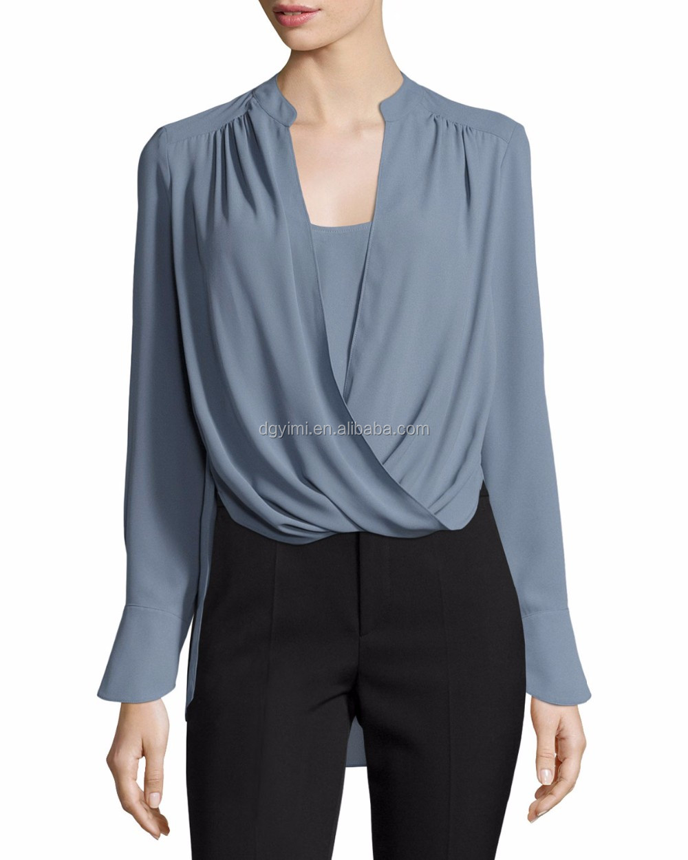 high low hem cross draped front blouse