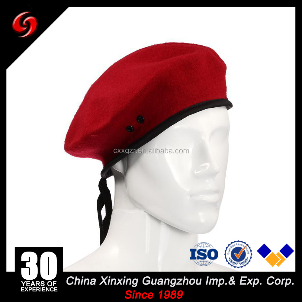 red color pure wool material 80gram high quality beret with logo print /embroidery hat for miliary
