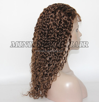 "water wave hair wig 18"" virgin Malaysian hair gluless lace wig in stock with #4 color full lace wig with baby hair"