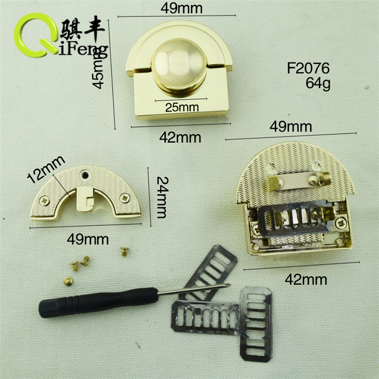 QIFENG <strong>HARDWARE</strong> fashion and high quality press lock for handbag F-2076