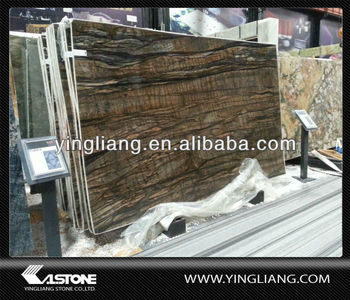 Shangrila chocolate brown wood granite slabs