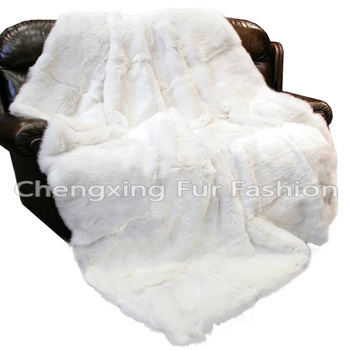 CX-D-43 Home Textile Good Quality White Carpet Rex Rabbit Fur Fur Throw Blanket