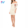 Professional clothing factory OEM embroidered white women bodycon dress