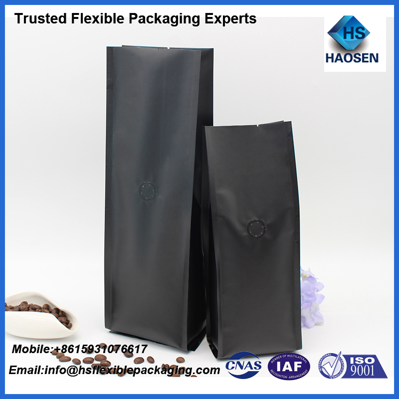 Custom printing low cost ground coffee pack/coffee bag tin with degassing valve