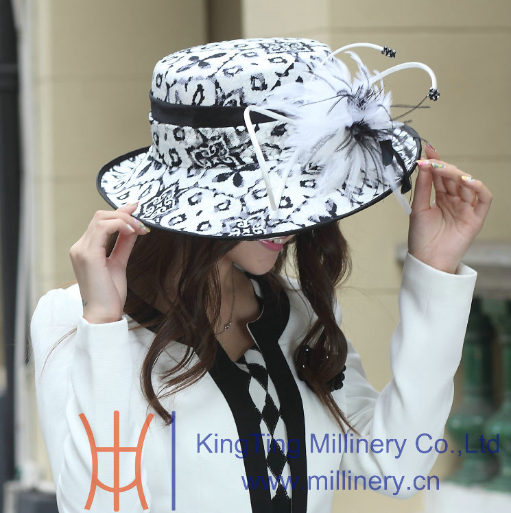 New ladies elegant dress hat satin dress hat women feather hat