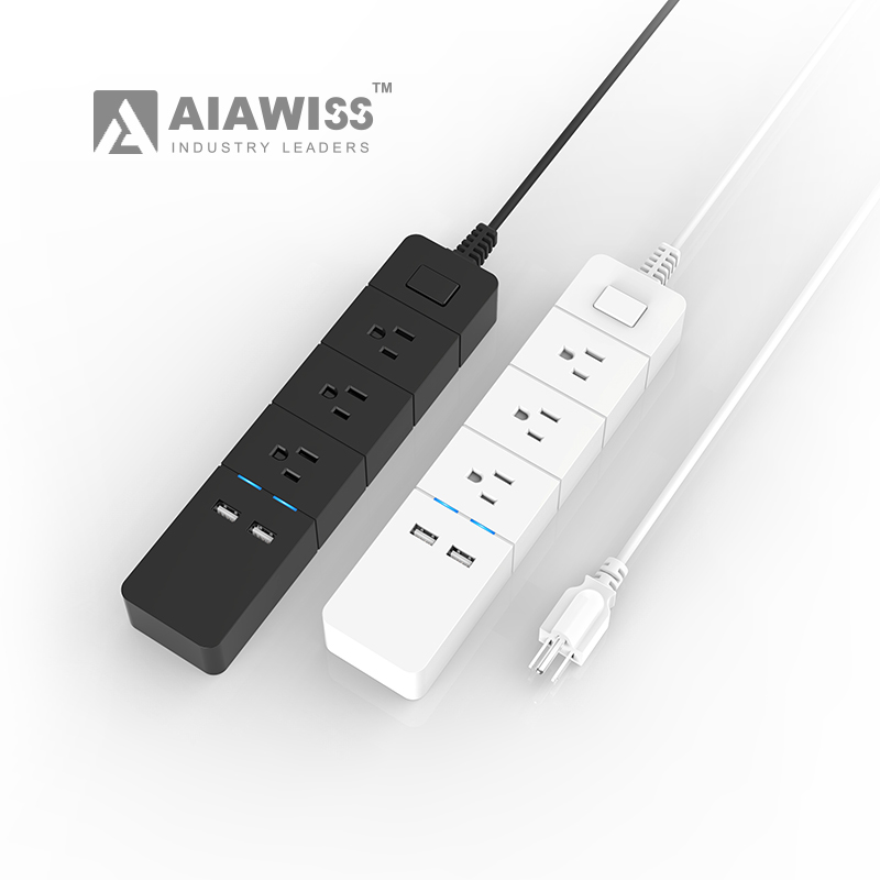 3 outlets 2 usb ports universal socket plug extension cable vertical electrical usa power strip with switch and led