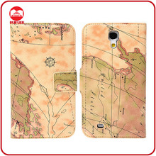 RF Manufacturer Retro Map Pattern Leather Magnetic Flip Stand Pouch Pocket Wallet Case for Samsung Galaxy Mega 6.3 I9200