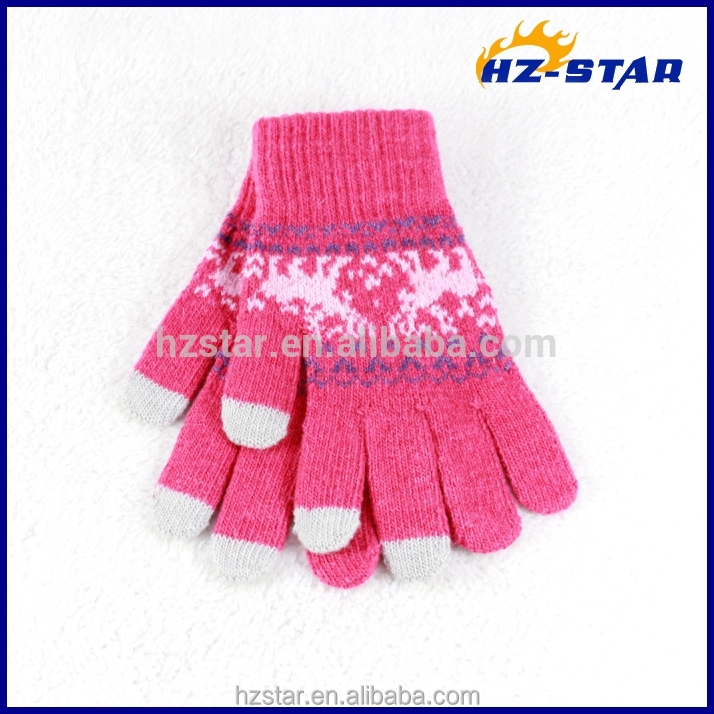 HZS-13253001 Winter Custom Hot sale Magic Acrylic Jacquard Smart Phone Touch Screen Glove For Iphone Ipad