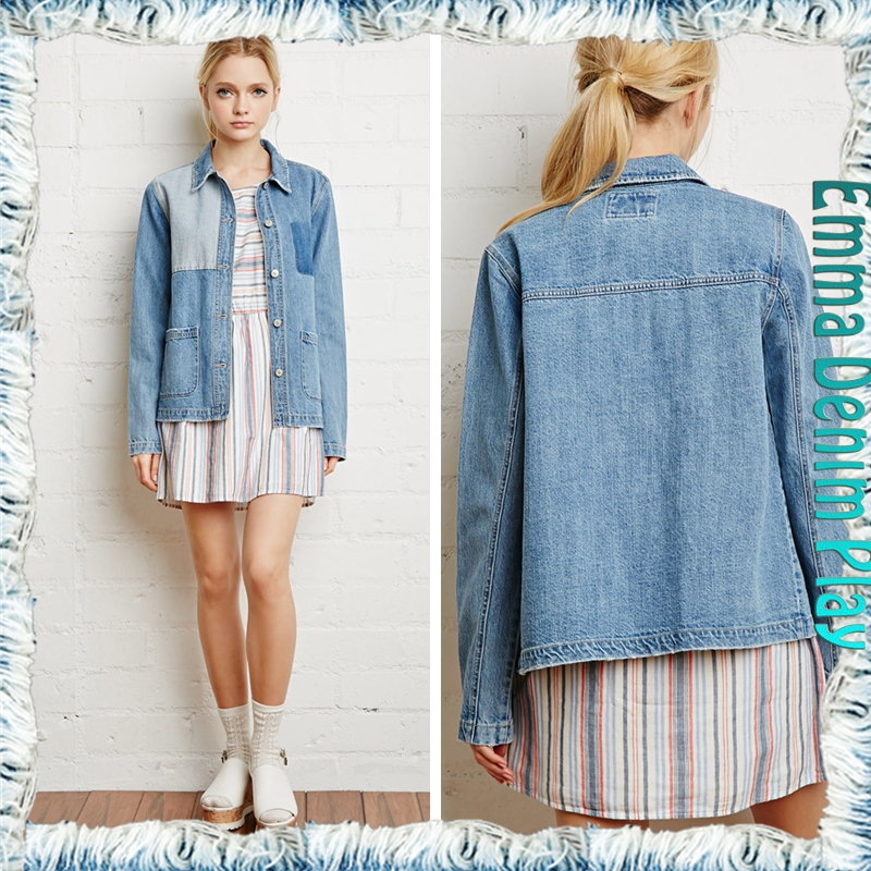 80s Vintage Faded Contrast Color Patchwork Button Up Hipster Short Denim Jacket For Women