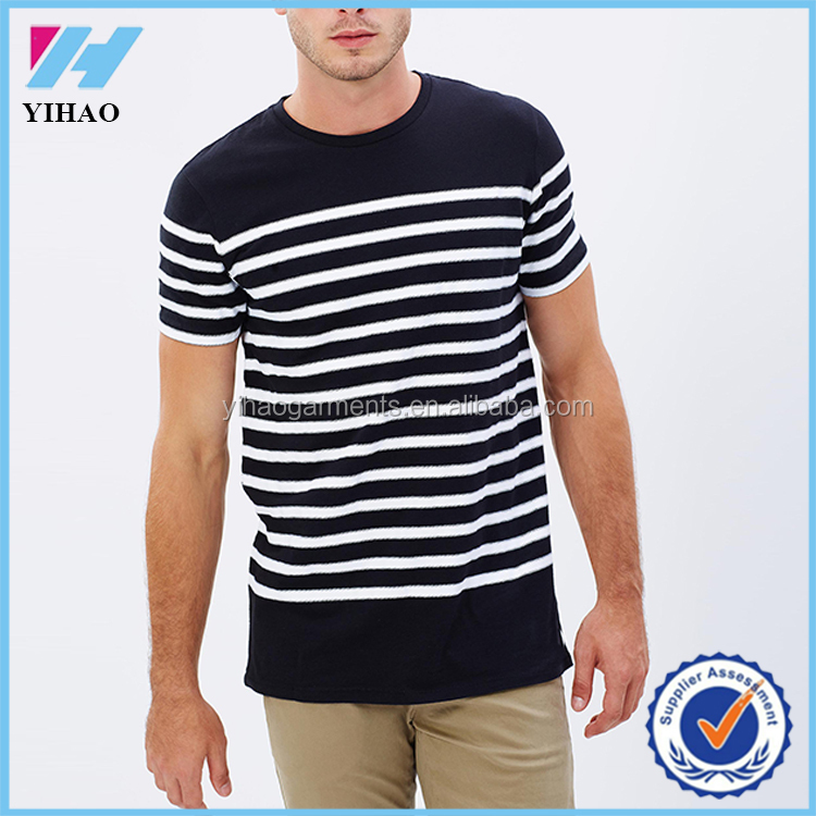 Online Shopping Men's Solid and Stripe Round-Neck T-Shirt