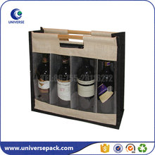 Transparent pvc window tote 4 bottle wine jute bag with dividers