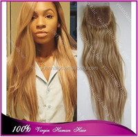 "7a grade quality 27#3.5x4"" brazilian remy hair hondy blonde human hair top closure"
