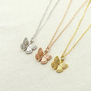 Dianty Minimalist Butterfly Necklace Gold Silver Plated Stainless Steel Pendant Necklace For Girls Women Accessories Jewelry