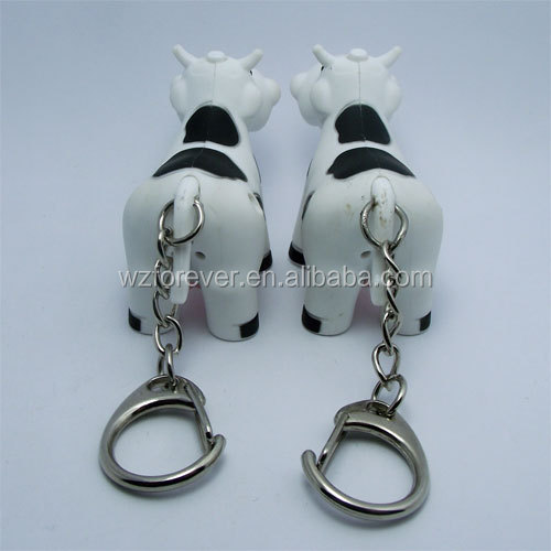 Hot Sales HT2085 Plastic Cow Shaped Sound With LED Light Keychain Promotional