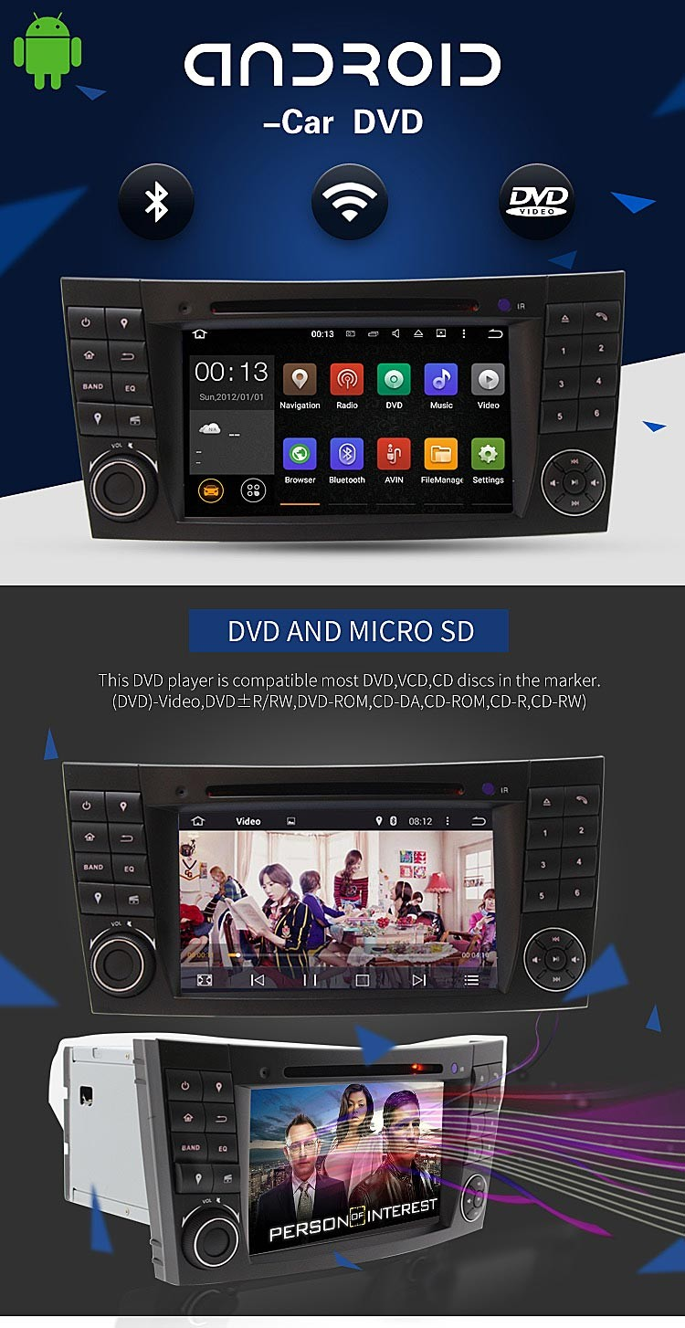 android 5.1.1 car dvd player for mercedes W211 navigation gps system