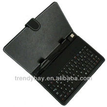 Fashion style tablet leather case keyboard micro usb