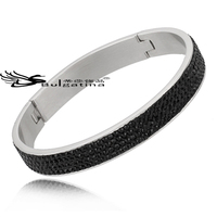Jet / Black Wholesale Top Selling Crystal Stainless Steel Bangles Latest Designs For Women,New